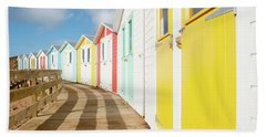 Colourful Bude Beach Huts Bath Towel