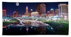 Columbus Ohio Full Moon Pano Bath Towel