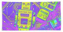 Comic Circuitry Robots Hand Towel