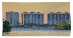 Condominium Buildings In Southwest Florida At Sunset Hand Towel