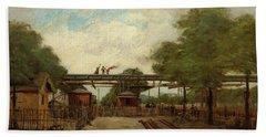 Construction Of An Elevated Railway Bridge Over The Cours De Vincennes, 1888 Bath Towel
