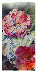 Hand Towel featuring the mixed media Copic Marker Rose by Ryn Shell