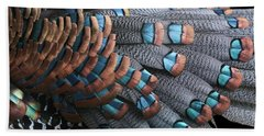 Bath Towel featuring the photograph Copper-tipped Ocellated Turkey Feathers Photograph by Debi Dalio