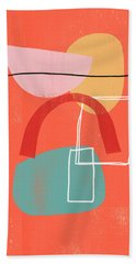 Coral Modern Abstract 2- Art By Linda Woods Bath Towel