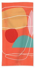 Coral Modern Abstract 3- Art By Linda Woods Bath Towel