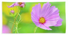 Cosmos Flower In Full Bloom, Bud Hand Towel