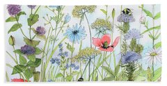 Cottage Flowers And Bees Hand Towel