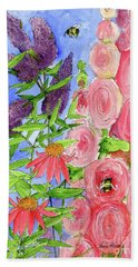 Cottage Garden Hollyhock Bees Blue Skie Bath Towel