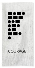 Courage Morse Code 2- Art By Linda Woods Bath Towel