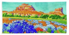 Hand Towel featuring the painting Courthouse And Jail Watercolor by Dan Miller