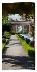 Painted Texture Courtyard Landscape Getty Villa California  Bath Towel