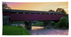 Covered Bridge Sunset Bath Towel