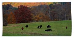 Bath Towel featuring the photograph Cows Grazing On A Fall Day by Angela Murdock