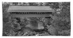 Creamery Covered Bridge Fall Foliage Black And White Hand Towel