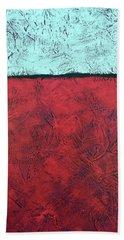 Crimson Earth Meets Pearl Sky Hand Towel
