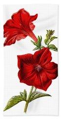 Crimson Petunia Flower Bath Towel