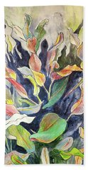 Bath Towel featuring the mixed media Croton Plant by Tilly Strauss