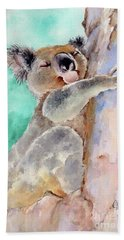 Cuddly Koala Watercolor Painting Hand Towel