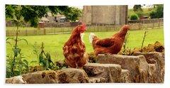 Cumbria,  Shap Abbey, Two Chickens. Bath Towel