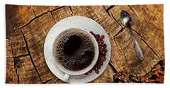 Cup Of Coffe On Wood Hand Towel