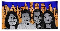 Custom Family License Plate Art Portrait On New York Skyline Bath Towel