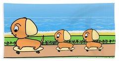Cute Cartoon Dogs On Skateboards By The Beach Hand Towel