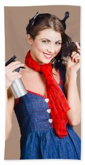 Cute Girl Model Styling A Hairdo. Pinup Your Hair Bath Towel