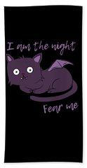 Cute Halloween Cat I Am The Night Fear Me Bath Towel