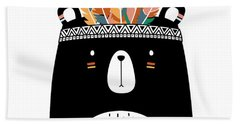 Cute Tribal Bear - Boho Chic Ethnic Nursery Art Poster Print Bath Towel