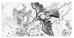 Cygnus, Boreal Constellation Of Swan Or Northern Cross Bath Towel