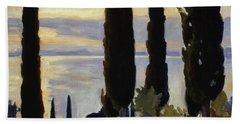 Cypress Trees At San Vigilio, 1913  Bath Towel