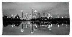 Dallas Cityscape Reflections Black And White Bath Towel