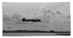 Bath Towel featuring the photograph Dambusters Lancasters At Abberton Bw Version by Gary Eason