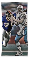 Dan Marino Miami Dolphins Legend Abstract Art 1 Hand Towel