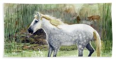 Dapple Grey Wild Horse Bath Towel