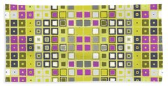 Bath Towel featuring the digital art Data Pink And Yellow by Joy McKenzie