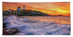 Dawn At Cape Neddick Lighthouse Hand Towel