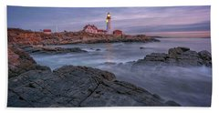 December Dawn At Portland Head Light Hand Towel