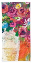 Bath Towel featuring the mixed media Delightful Bouquet 2- Art By Linda Woods by Linda Woods