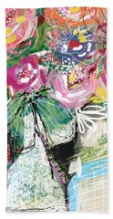 Bath Towel featuring the mixed media Delightful Bouquet 3- Art By Linda Woods by Linda Woods