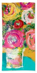 Bath Towel featuring the mixed media Delightful Bouquet 4- Art By Linda Woods by Linda Woods