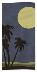 Desert Palm Trees And Yellow Moon Hand Towel