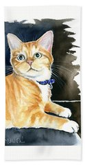 Diego Ginger Tabby Cat Painting Bath Towel