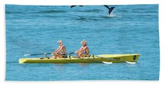 Dolphin Leaping Over Two Rowers Bath Towel