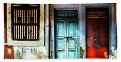 Doors Of India - Blue Door And Red Door Hand Towel