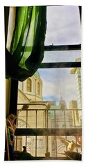 Bath Towel featuring the photograph Doves In My Window by Joan Reese