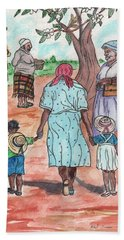 Down The Red Road And Past The Magnolia Tree Hand Towel