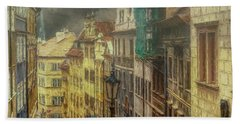 Downhill, Downtown, Prague Hand Towel