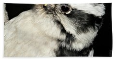 Downy Woodpecker Female Bath Towel