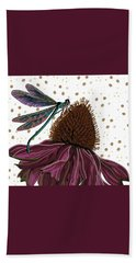 Dragon Fly And Echinacea Flower Hand Towel